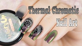 Thermal Chromatic Nail Art/ Пигмент Аврора на термо-лаке, дизайн ногтей
