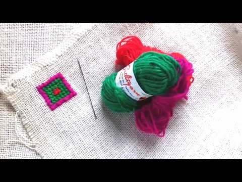 চটের উপর উলের কাজ  How to make diy woolen craft/stitch wool yarn in the coat/Wool craft