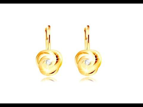 de299c966 Šperky - Náušnice v žltom 14K zlate - tri špirálovito zatočené lupienky,  okrúhly zirkónik - Šperky eshop - thtip.com