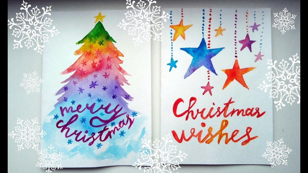 diy easy christmas cards ideas watercolour tutorials - Christmas Photo Cards Ideas
