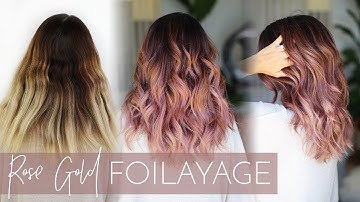 Rose Gold Balayage - How to Cover Gray while also doing a Foilayage (easy technique!)