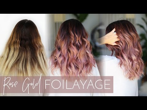 Rose Gold Balayage How To Cover Gray While Also Doing A