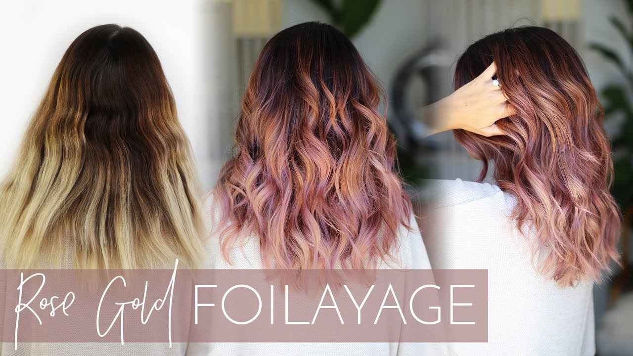 Rose Gold Balayage , How to Cover Gray while also doing a Foilayage (easy  technique!)