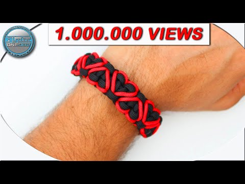 How To Make Paracord Bracelet Stitched Hearts Solomon Bracelet Paracord DIY Tutorial