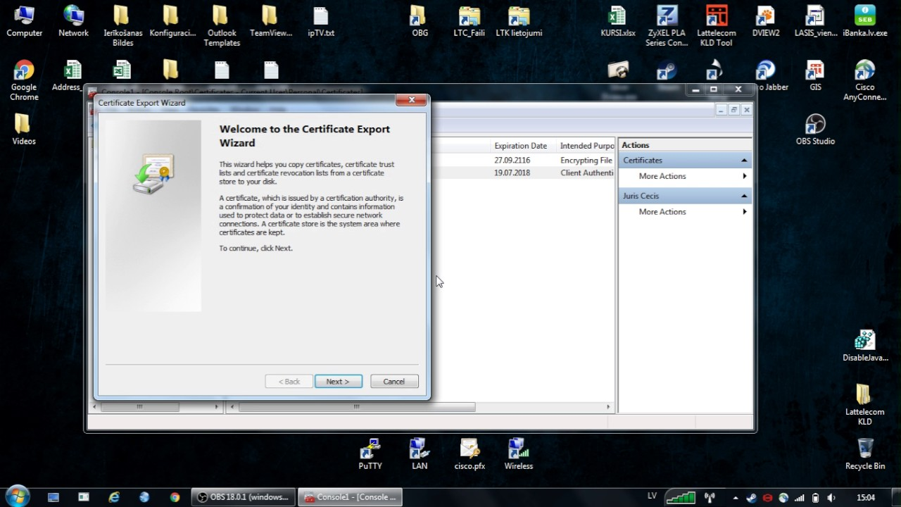 How To Export Personal Certificate Windows 7 Youtube