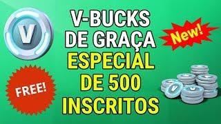 FORTNITE/V-BUCKS FOR FREE/SPECIAL 500 SUBSCRIBERS-ChuteiraDourada