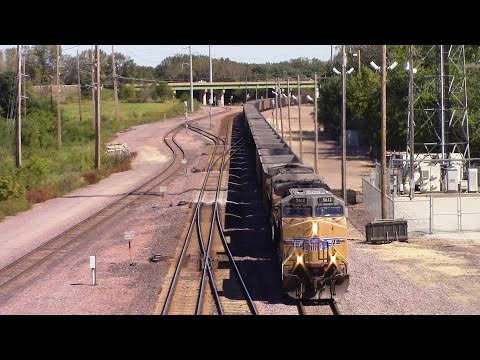 Two UP Empty Coal Trains at The Edgewood Rd. Bridge, Cedar Rapids, IA 9-19-15