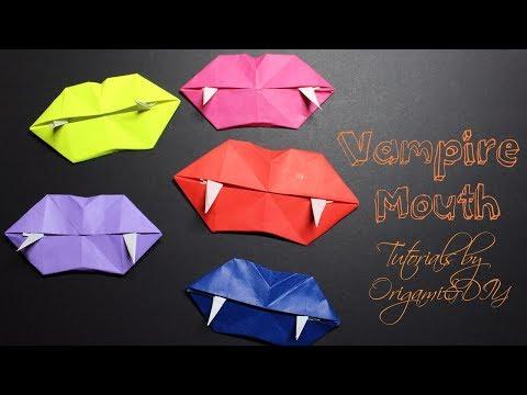 Halloween Origami: Vampire Mouth/Teeth - Origami For Halloween