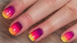 neon rainbowombre nails for summer - nail tutorial