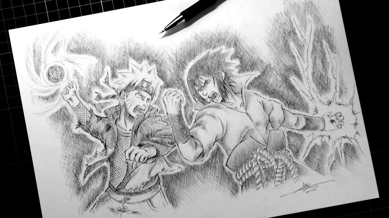 Naruto Vs Sasuke Drawing