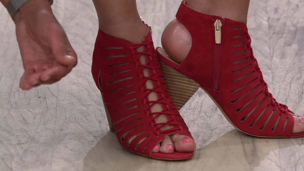 d8db0635ec Vince Camuto Nubuck Leather Peep Toe Sandals - Evalan on QVC - YouTube