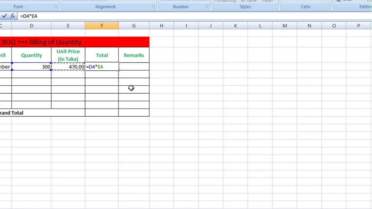 How to make boq with excel bill of quantity youtube how to make boq with excel bill of quantity altavistaventures Choice Image