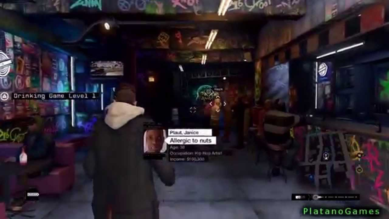Watch dogs ps4 bar drinking game shooting spree for Food bar drinking game