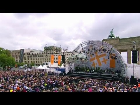 Barack Obama and German Chancellor Merkel speech in Germany's 'Kirchentag' May 25, 2017.