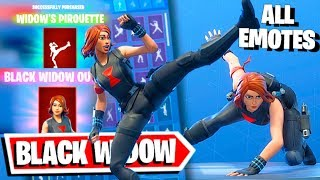 BLACK WIDOW MARVEL OUTFIT with all Fortnite Dances + Widow's Pirouette