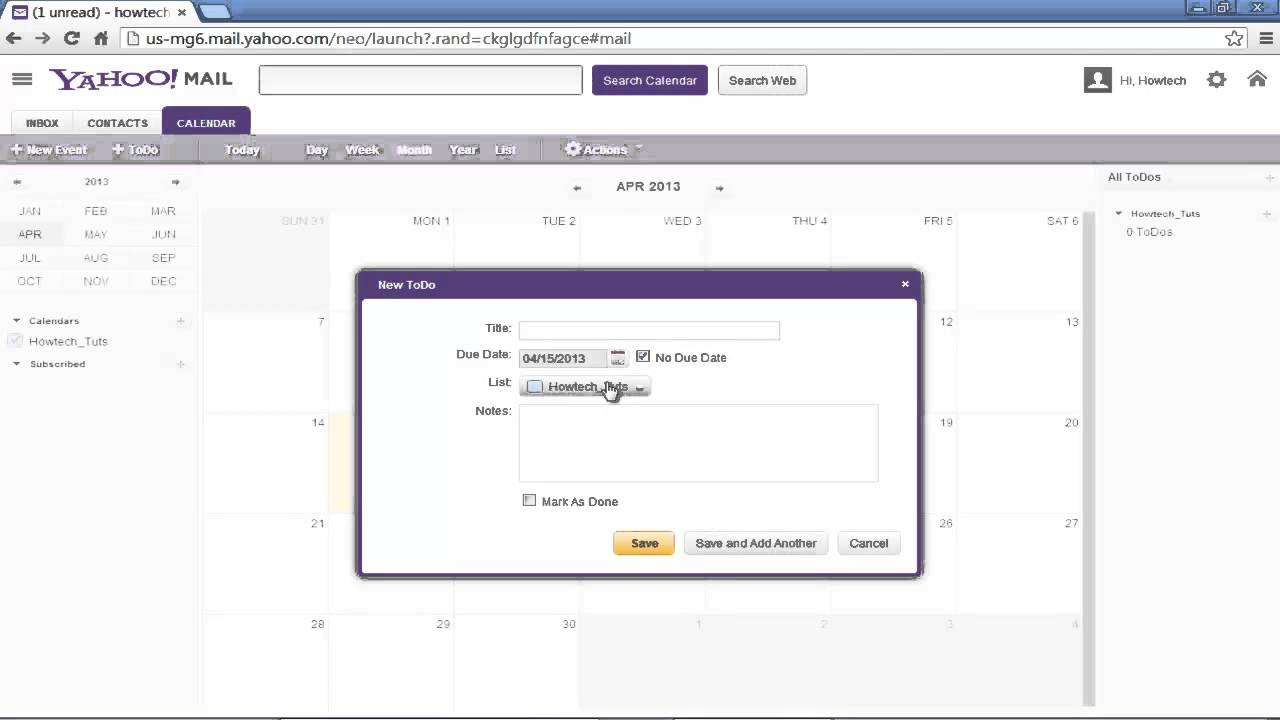 How to Use Yahoo Calendar