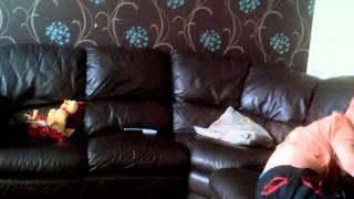 6 year old tries backflip on sofa