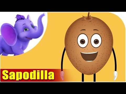Sapodilla Fruit Rhyme for Children, Sapodilla Cartoon Fruits Song for Kids