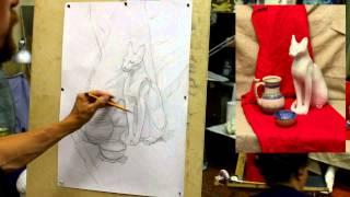 Обучение рисунку. Введение. 22 серия: несложный натюрморт, раскрытие в тоне