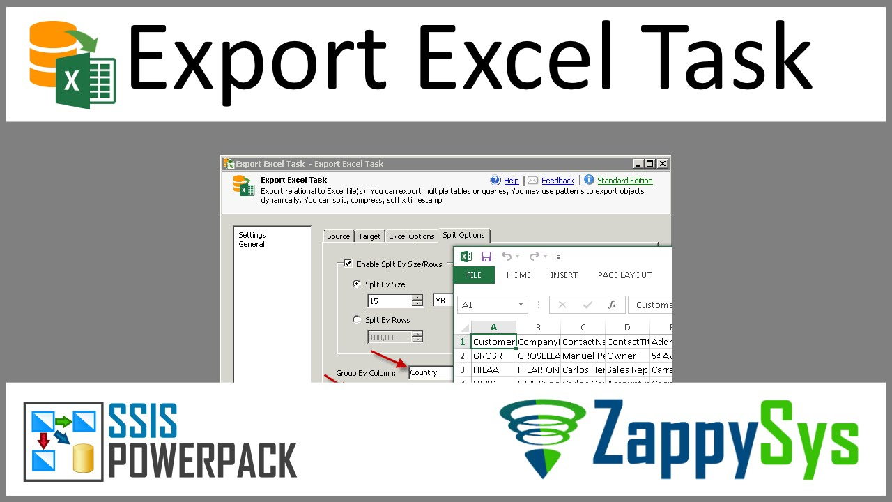 SSIS Export Excel File Task (Dynamically create)   ZappySys
