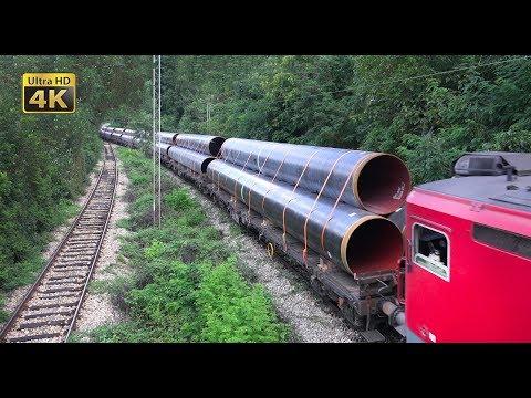 Rail traffic in Serbia - Freight trains around Belgrade [4K]