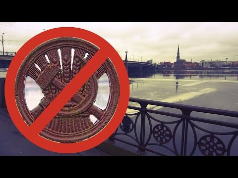Soviet symbols are cut from waterfront fence in Riga  News from Latvia
