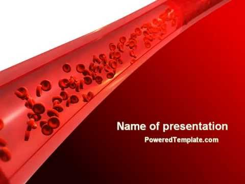 Red Blood Cells In A Blood Vessels Powerpoint Template By