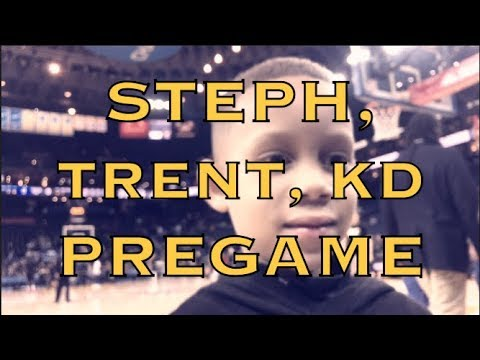 Steph Curry, Trendy Trent Fuller, and KD (Kevin Durant) pregame before Warriors (12-7) vs Portland