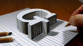 Draw a Letter G on Line Paper   3D Trick Art