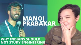 Why Indians should NOT study Engineering | Stand-up comedy by Manoj Prabakar | REACTION!!