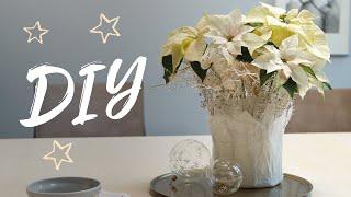 DIY adventliche Tischdeko: Weihnachtssternstrauß in zartem Papierlook