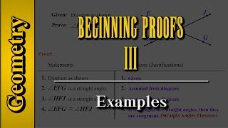 Geometry: Beginning Proofs (Level 3 of 3)   Examples