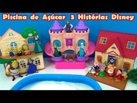 Piscina de Açúcar de 3 Filmes - Shrek e Fiona ,Branca de neve e Frozen Disney #TiaCris