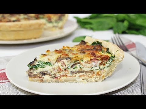 Spinach and Bacon Quiche | Spinach, Bacon and Mushroom Quiche