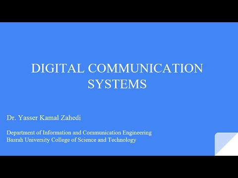 Digital Communication Systems ---- Part 1  March 2020
