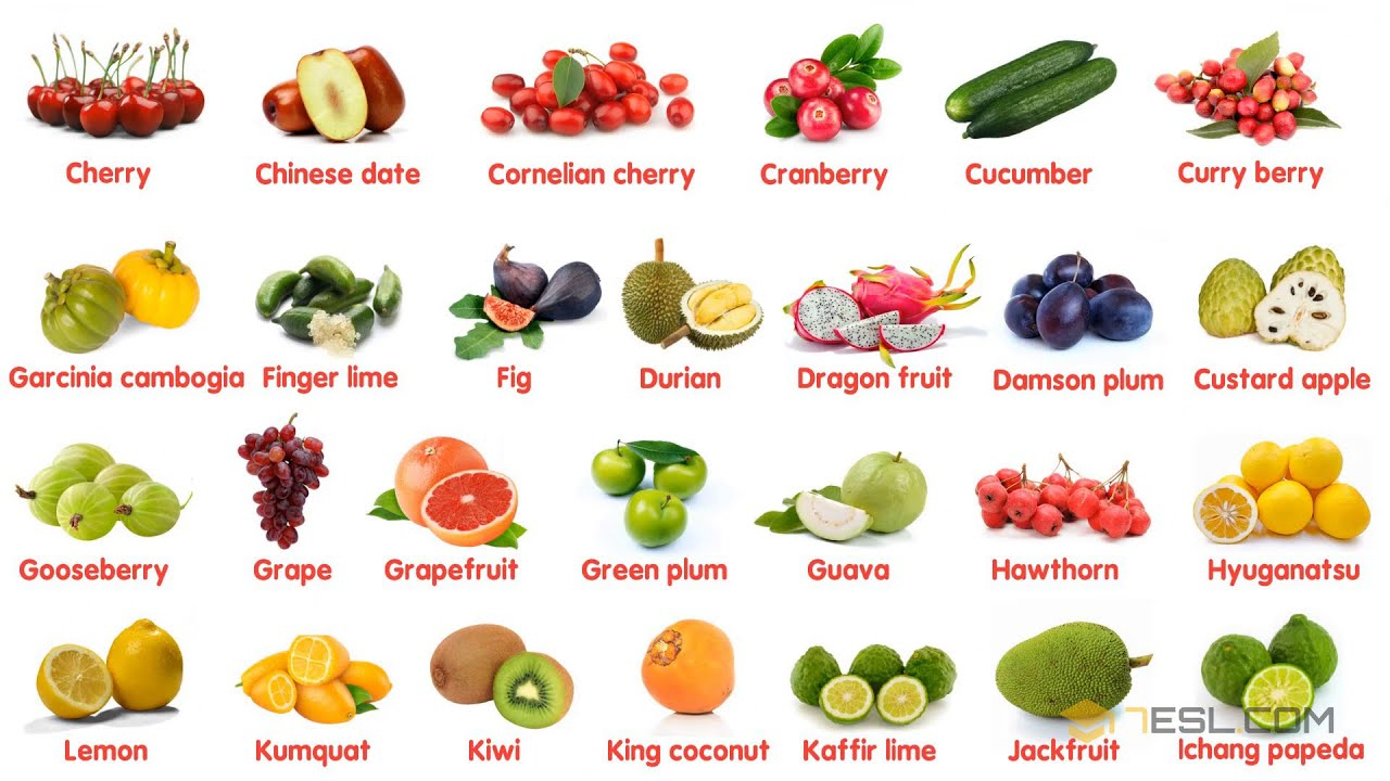 100 Most Popular Fruits in The World   Learn Names of Different Types of  Fruits in English - YouTube