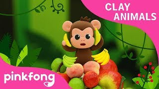 How to make Monkey with Clay | Clay Animals | Monkey Bananas | Pinkfong Clay Time