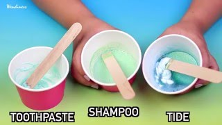 Slime Test-Can You Really Make DIY Slime with Toothpaste, Shampoo, Tide? Without Borax