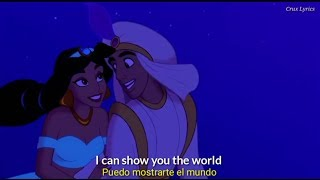 Mena Massoud, Naomi Scott - A whole new world / Lyrics (Audio Replaced on Aladdin's animation)