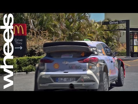 Hyundai i20 WRC car visits McDonalds drive thru Wheels Plus Wheels Australia