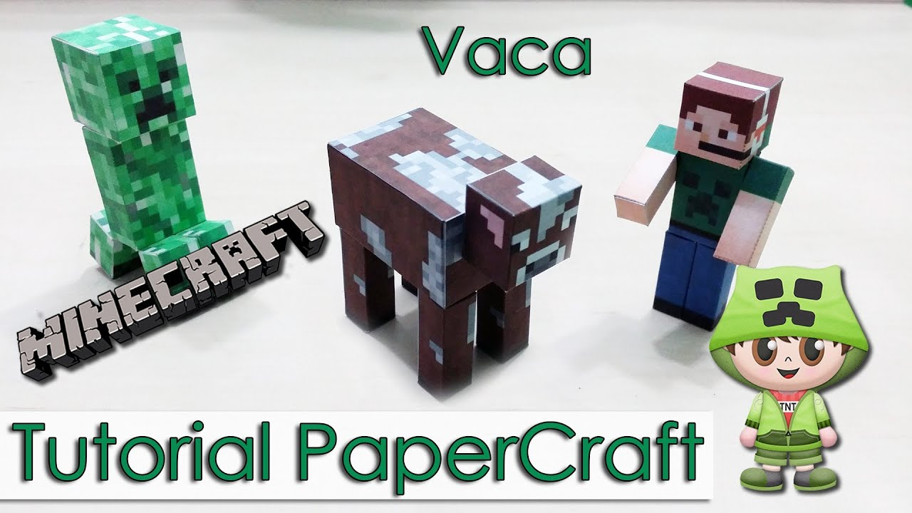 Papercraft Tutorial PaperCraft Minecraft - Vaca + como baixar templates + downloads