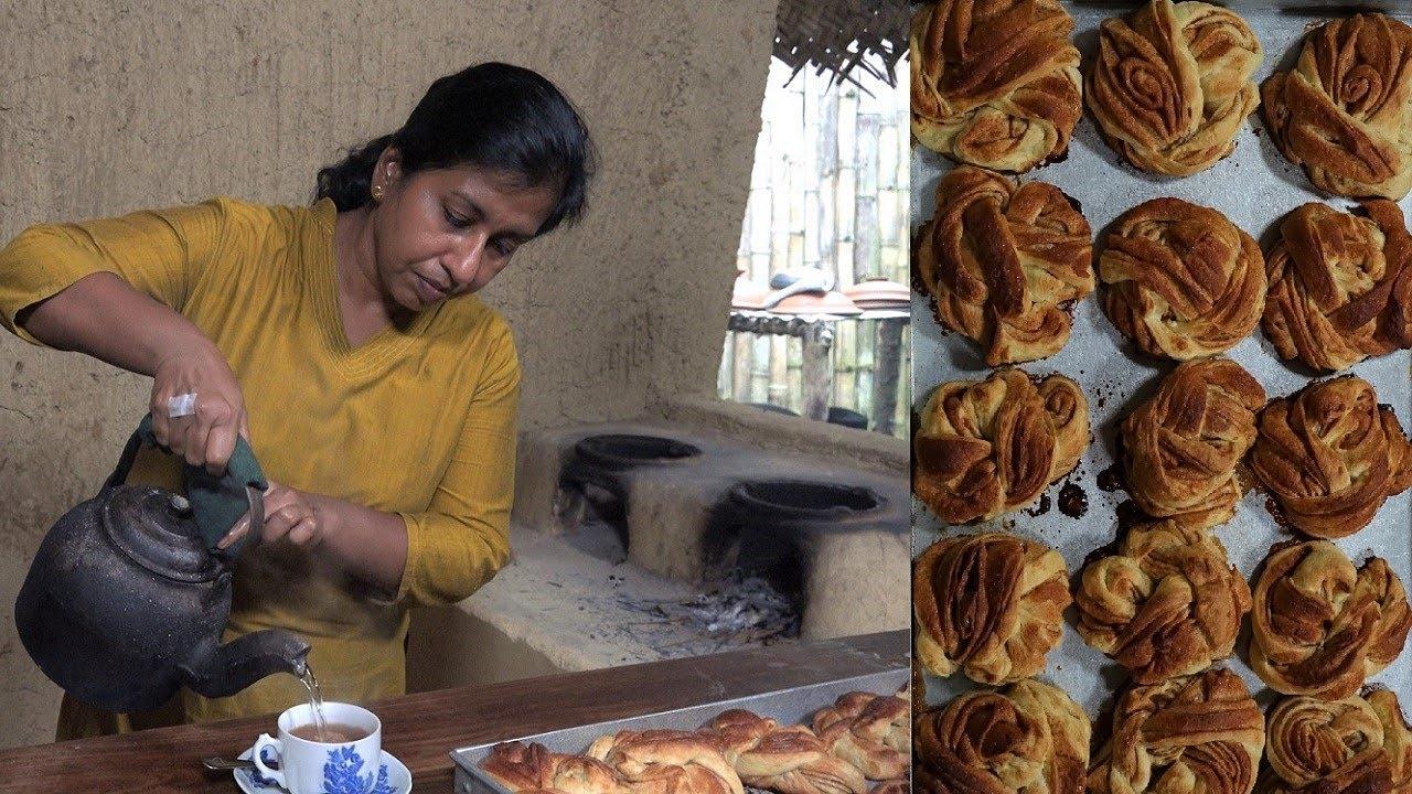 She is making Cinnamon Buns and Cinnamon Tea from healthy cinnamon powder ❤ Village Healthy Food