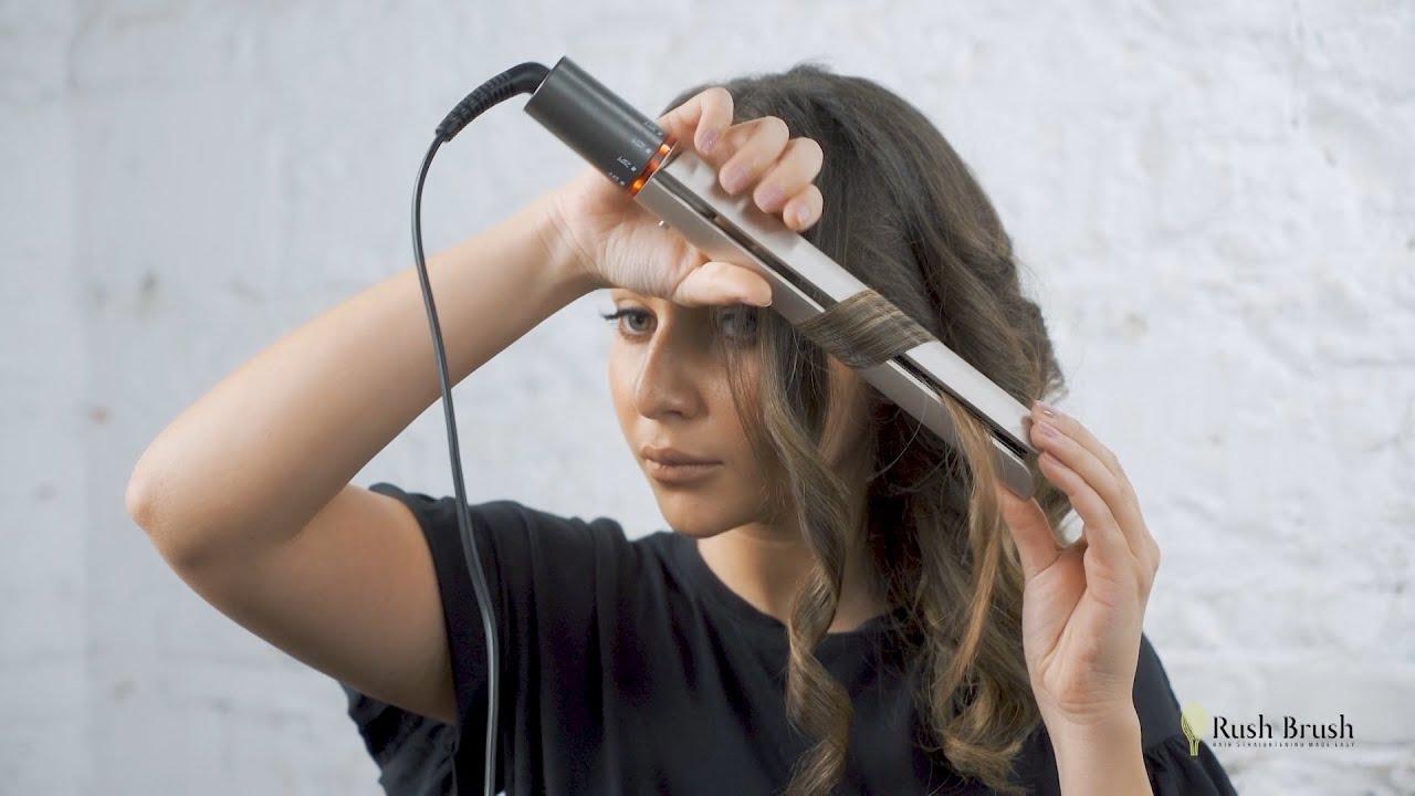 طريقة تمويج الشعر باستخدام مكواة Rush Brush راش براش الجديدة Youtube