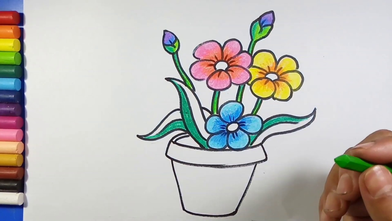 Easy Simple Flower Pot Drawing Youtube