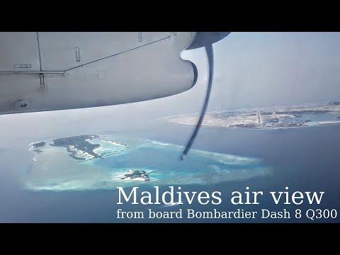 Maldivian Islands air view from board Bombardier Dash 8-200. Male-Ifuru and back. (Maldives)