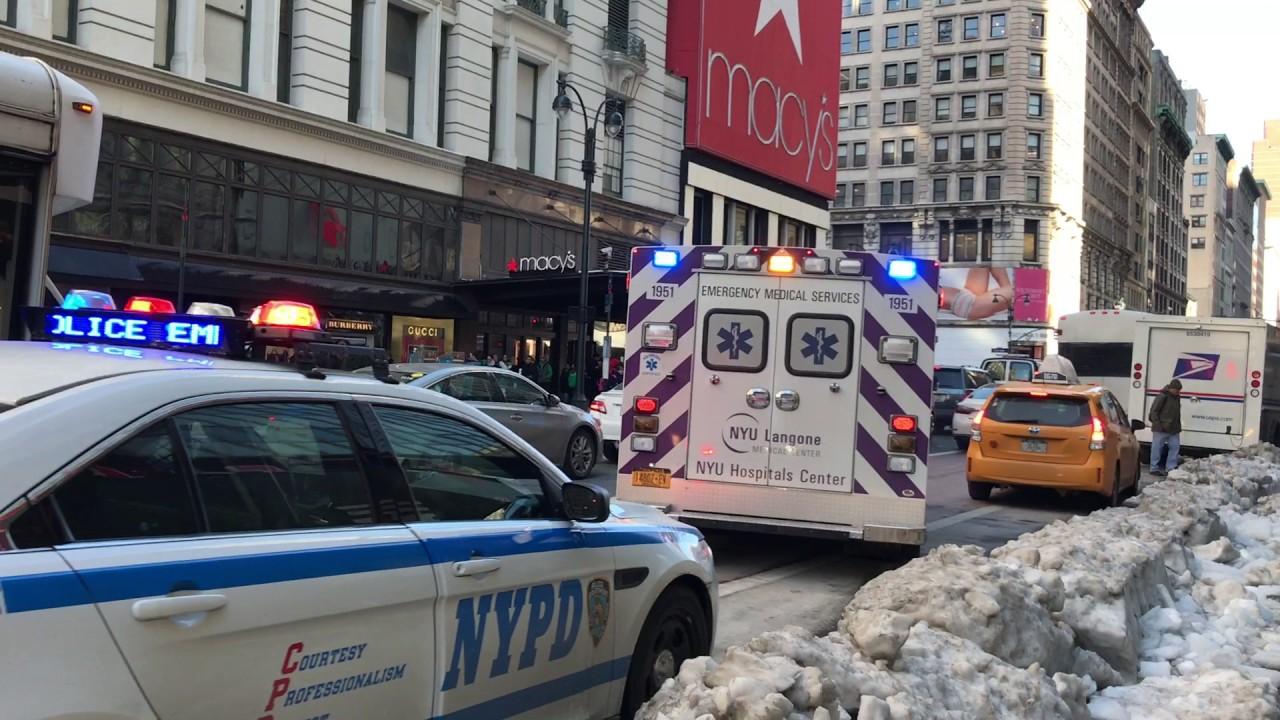 NYU LANGONE MEDICAL CENTER AMBULANCE & NYPD CRUISER RESPONDING ON W  34TH  ST  IN MANHATTAN, NYC