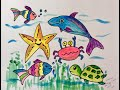 Teach Drawing And Coloring Water Animals