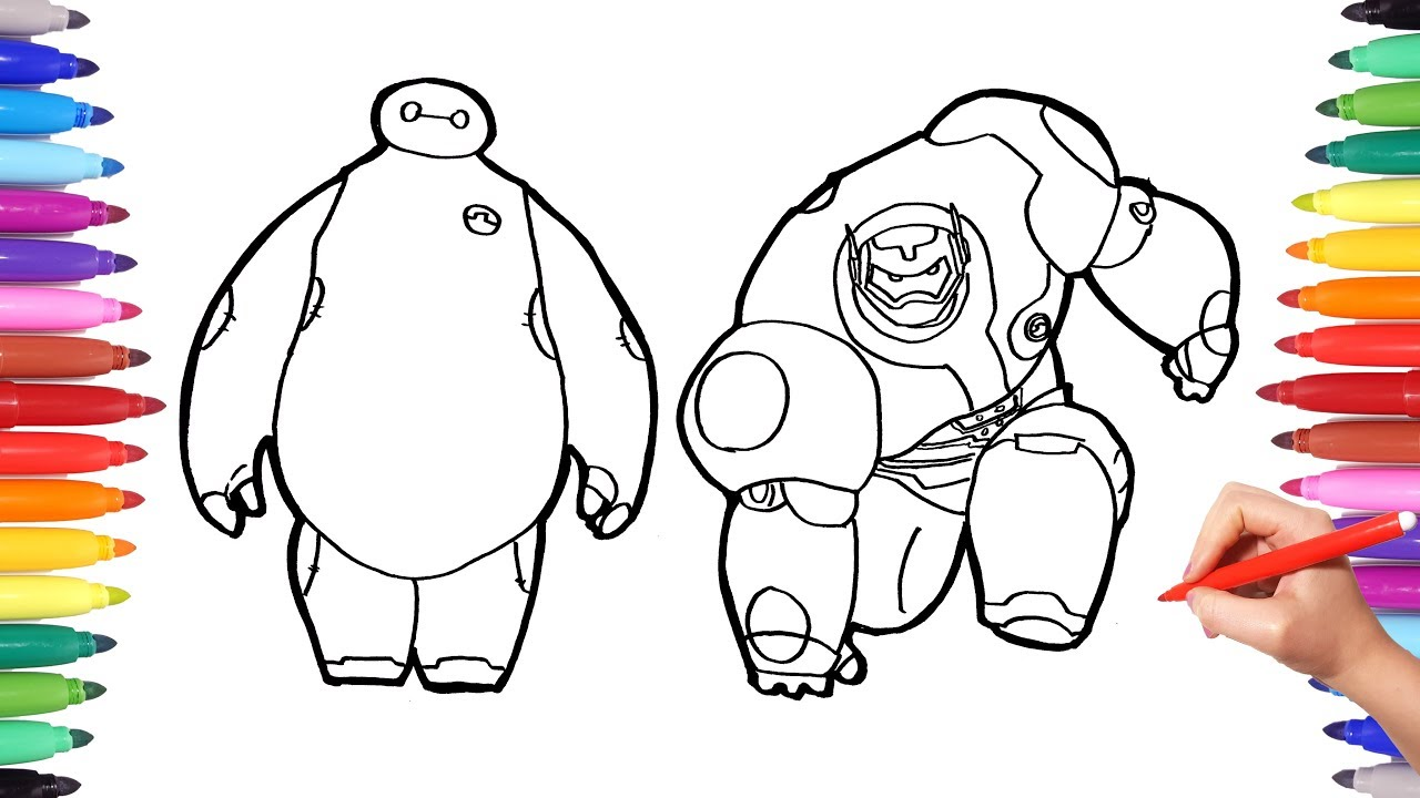 Disney big hero 6 cartoon coloring pages baymax superhero transformation how to draw