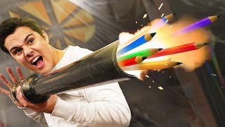 Shooting Pencils Out Of A Cannon?!