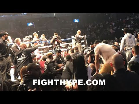 (CHAOS) JERMALL CHARLO NEAR BRAWL WITH TEAM LUBIN RINGSIDE; CHAIRS FLY AFTER JERMELL KO'S LUBIN IN 1